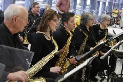 "All saxes singing ""When The Saints Go Marching In"" at ROC International Airport Welcome Home Honor Flight performance on April 7, 2018. Photo by Patricia Elliott."