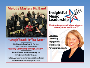 Ad for Melody Masters Big Band and Insightful Music Leadership.
